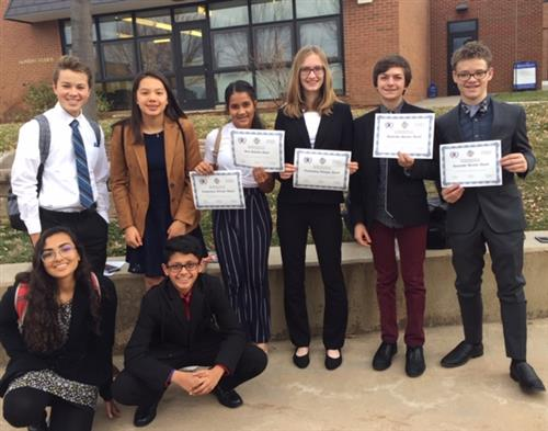 Model UN Team with certificates