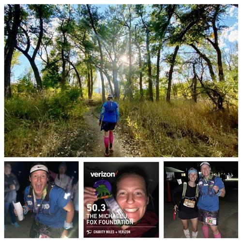 Montage of photos from Ms. Harlow's race.