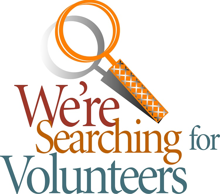 We're  searching for volunteers logo